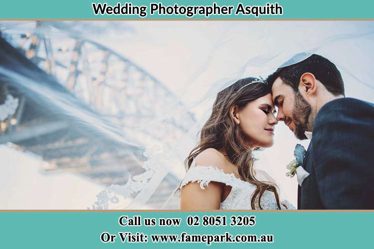 Close up photo of the Bride and the Groom under the bridge Asquith NSW 2077