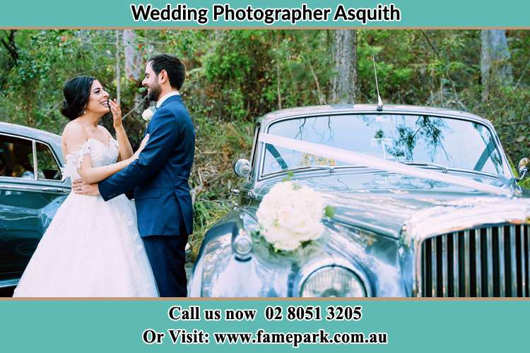 Photo of the Bride and the Groom near the bridal car Asquith NSW 2077
