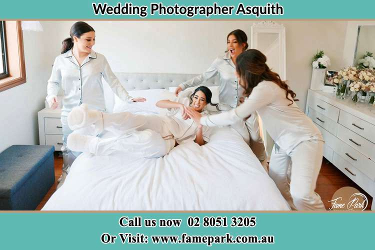 Photo of the Bride and the bridesmaids playing on bed Asquith NSW 2077