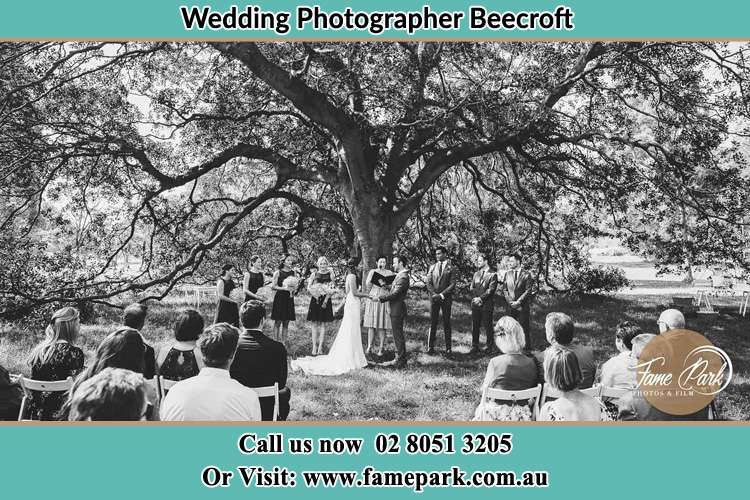 Wedding ceremony under the big tree photo Beecroft NSW 2119
