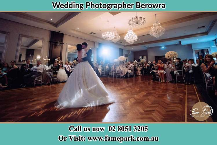 Photo of the Bride and the Groom hugging on the dance floor Berowra NSW 2081