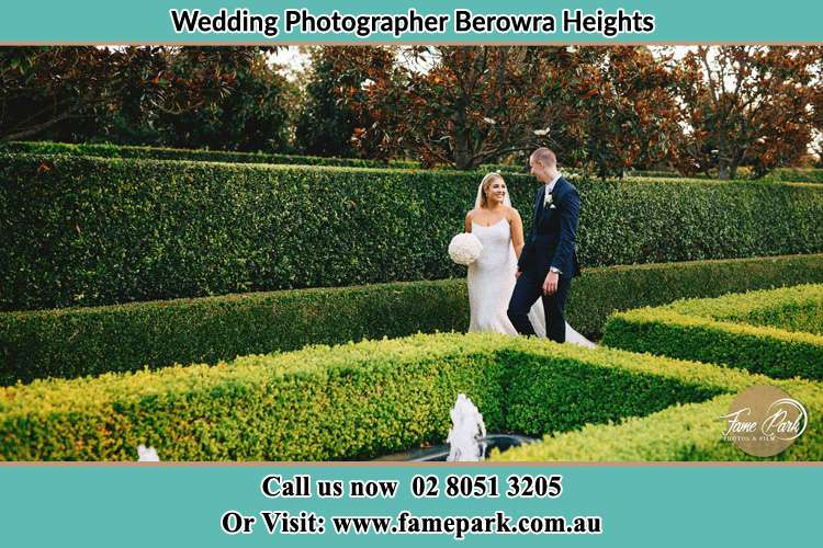 Photo of the Bride and the Groom walking at the garden Berowra Heights NSW 2082