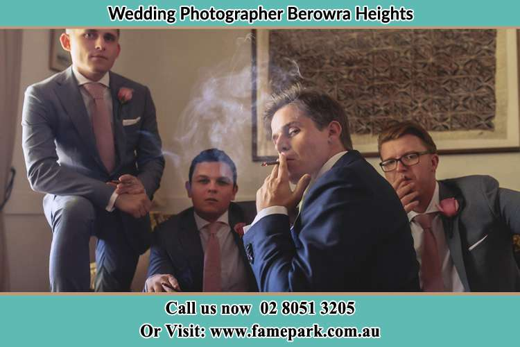 Photo of the Groom and the groomsmen relaxing Berowra Heights NSW 2082