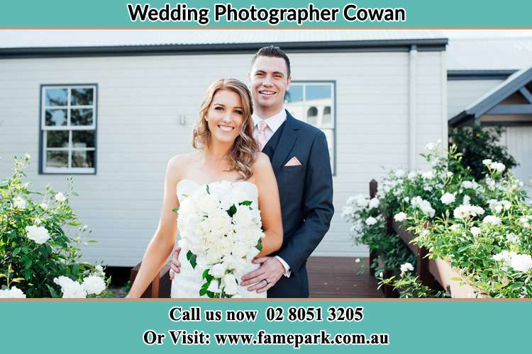 Photo of the Bride and the Groom at the front house Cowan NSW 2081