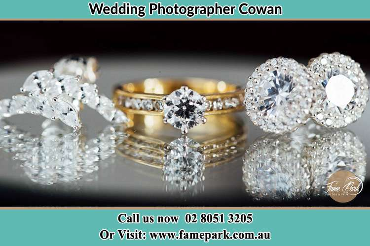 Photo of the Bride's cliff, ring and earrings Cowan NSW 2081