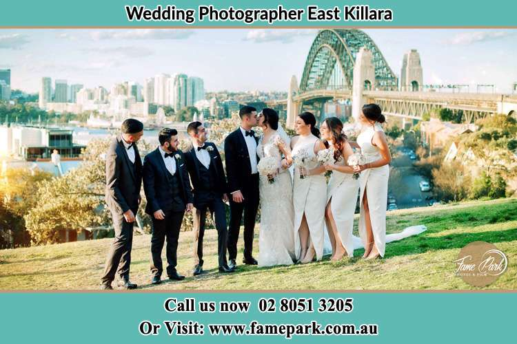 Bride and Groom party in a park East Killara