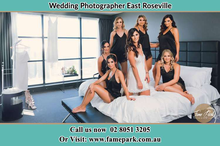 Photo of the Bride and the bridesmaids wearing lingerie on bed East Roseville NSW 2068