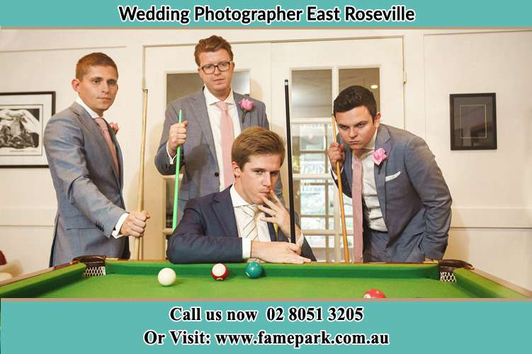 Photo of the Groom and the groomsmen playing billaird East Roseville NSW 2068