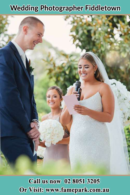 Photo of the Bride testifying love to the Groom Fiddletown NSW 2159