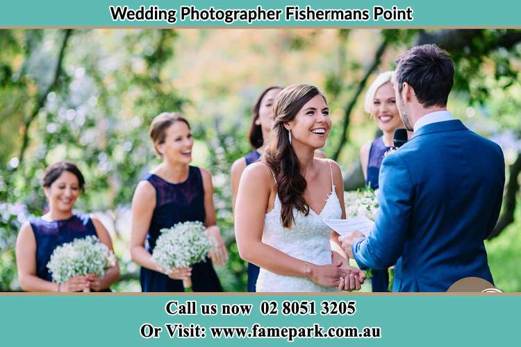 Photo of the Groom testifying love to the Bride Fishermans Point NSW 2082