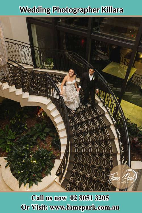 Photo of the Bride and the Groom going down the stair Killara NSW 2071