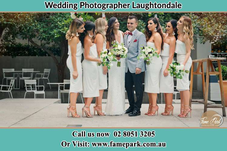 Photo of the Bride and the Groom with the bridesmaids Laughtondale NSW 2775