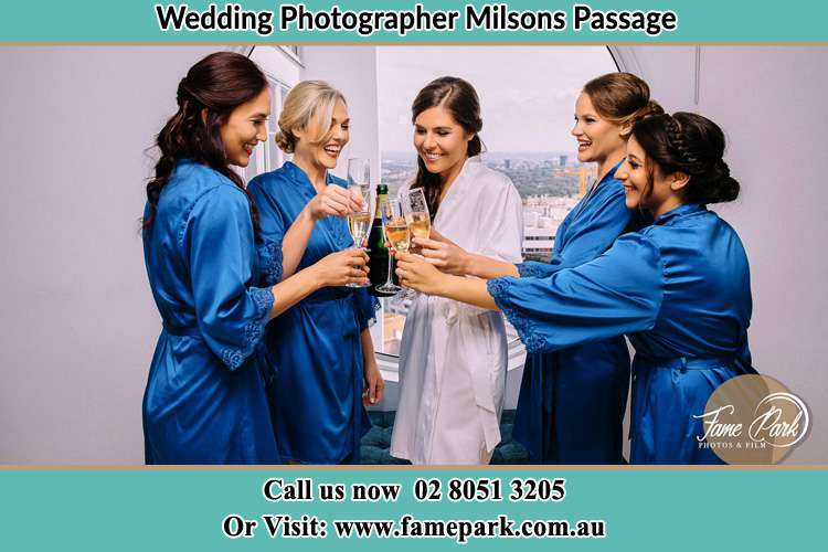 Photo of the Bride and the bridesmaids having wine Milsons Passage NSW 2083