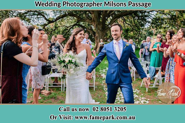 Photo of the Bride and the Groom showering flower petal by the visitors Milsons Passage NSW 2083