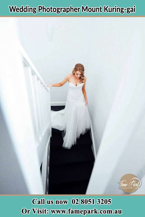 Photo of the Bride going down the stair Mount Kuring-gai NSW 2080