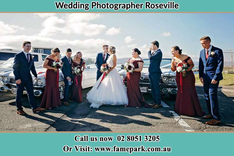 Photo of the Groom and the Bride with the entourage Roseville NSW 2069