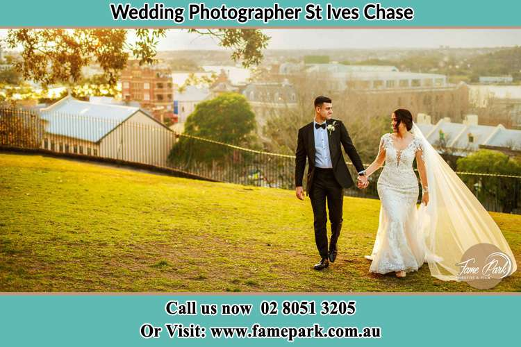 Photo of the Groom and the Bride walking at the yard St Ives Chase NSW 2075