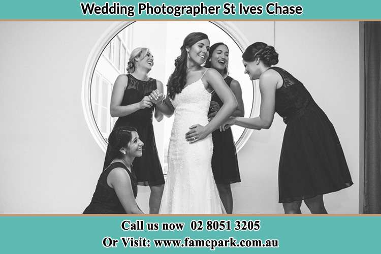 Photo of the Bride and the bridesmaids near the window St Ives Chase NSW 2075