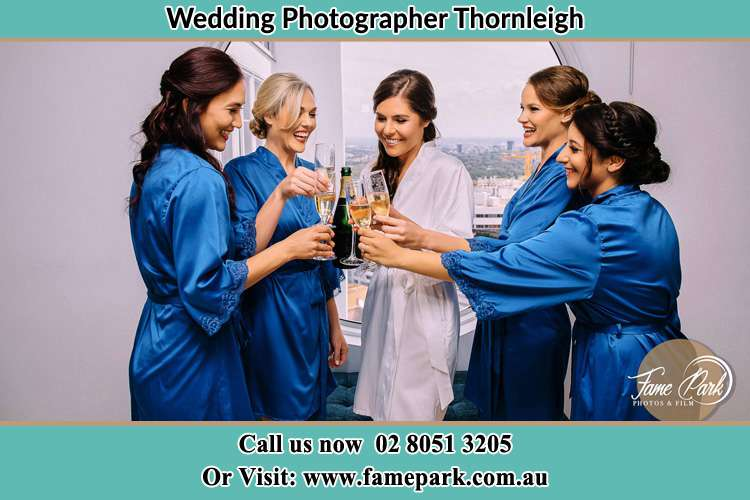 Photo of the Bride and the bridesmaids having wine Thornleigh NSW 2120
