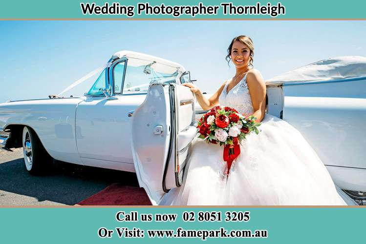 Photo of the Bride outside the bridal car Thornleigh NSW 2120