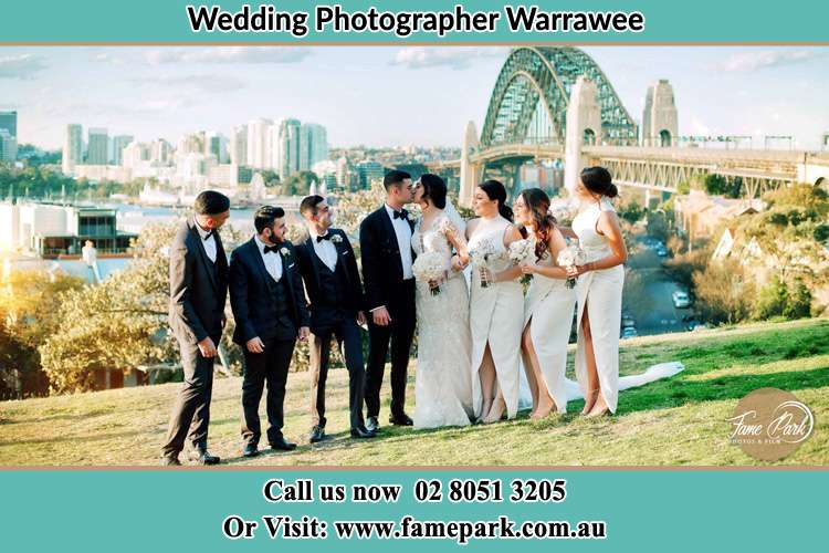 Photo of the Groom and the Bride with the entourage near the bridge Warrawee NSW 2074