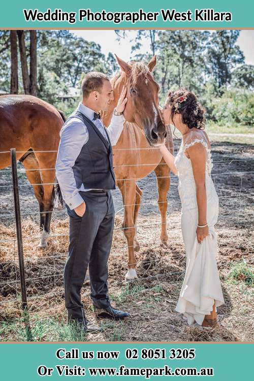 Photo of the Groom and the Bride caressing a horse West Killara NSW 2071