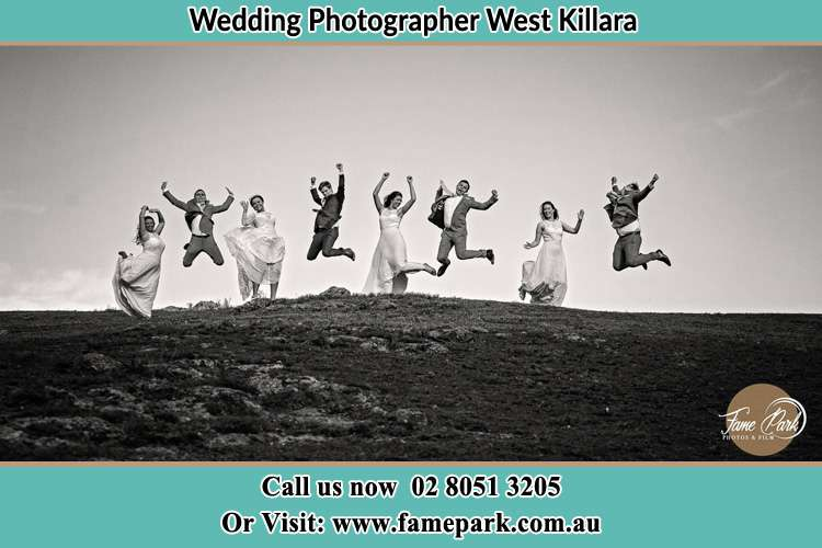 Jump shot photo of the Groom and the Bride with the entourage West Killara NSW 2071